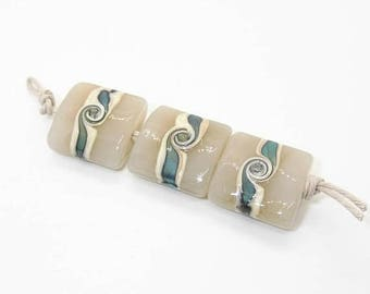 Translucent Ivory And Silver Glass Beach Handmade Lampwork Glass Beads - Prima Donna Beads