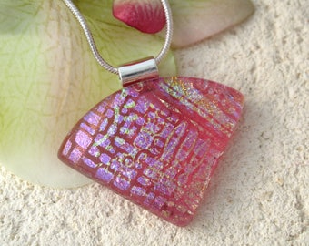 Pink Necklace, Dichroic Jewelry, Wedge Necklace, Dichroic  Pendant, Fused Glass Jewelry, Dichroic Jewelry,SIlver Chain, ccvalenzo 063017p100