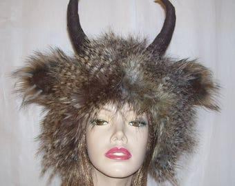 Furry Horn Hat Monster Wild Thing Hat Feather Fur Woodland Beast Geek Fur Hat Fetish Horn Imp Satyr Yak Hat Halloween Costume Adult Unisex