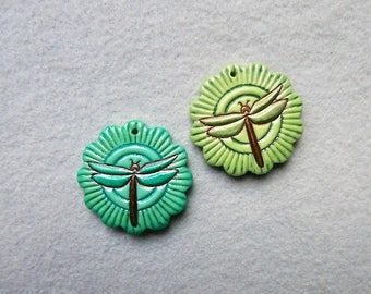 Dragonfly Pendant in Polymer Clay - Set of 2 - Dancing Dragonflies