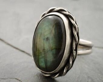 Labradorite Ring. Statement Ring. Gemstone Ring. Size 8 Ring. Gemstone Ring. Labradorite Gemstone. Oval Cabochon.