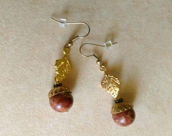 Unique Marbled Jasper Acorn Earrings, 10 mm Jasper Acorn, Golden Leaves, Golden Acorn Cap- Cute Oak Fruit Earrings by enchantedbeads on Etsy