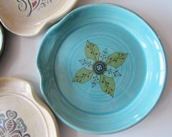 Decorative spoon rest - morrocan tile - glazed in turquoise