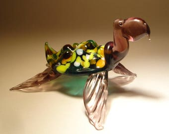 Handmade Blown Glass Figurine Art Sea Creature Green and Purple TURTLE