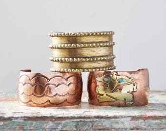 3 Vintage Wide Cuff Bracelet Lot - copper and brass tribal style cuffs - women's Med Medium M