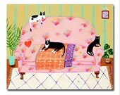 ORIGINAL LARGE cat painting 3 cats on a sofa black cats tuxedo cat portrait painting cat folk art painting by TASCHA 20x16 on canvas