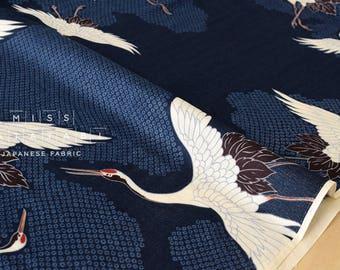Japanese Fabric double gauze - cranes - indigo blue - 50cm