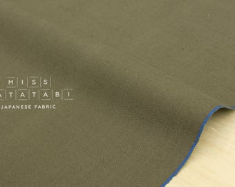 Japanese Fabric - yarn dyed selvedge canvas - khaki - 50cm