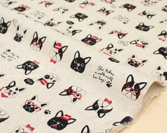 Japanese Fabric - Fancy Pups canvas - natural - 50cm