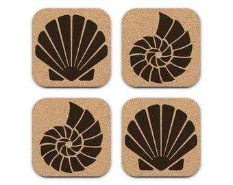 SEASHELLS Nautical Coastal Beach Decor Cork Coaster Set Of 4 Barware Decoration