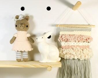 eloise .. amigurumi stuffed plush toy, teddy bear, amigurumi crochet animal plushie, cute girl doll
