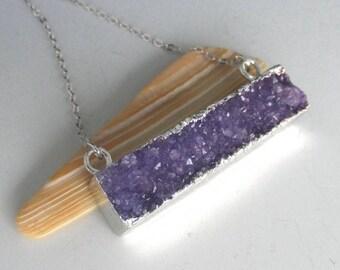 Purple Druzy Bar Silver Necklace