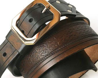 Celtic Knot Tooled Brown and Black Leather Guitar Strap, Adjustable Size, Eco-Friendly Genuine Leather Recycled Belts, Unisex, Unique, OOAK
