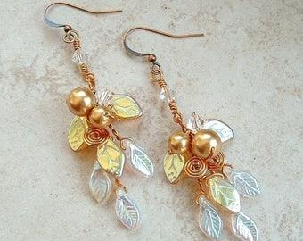 ON SALE Lothlorien Crystal Art Nouveau Earrings
