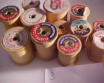 lot of 12 vintage EMPTY Wooden Sewing Spools #3