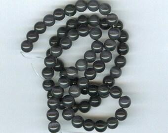 6mm Black Beads, 6mm Black Cats Eye Fiber Optic Glass Round Spacer Catseye Beads