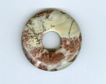 Jasper Focal Donut, 40mm Brown with Red Picture Jasper PI Donut Focal Pendant 659T