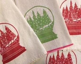 Snowglobe Block Printed Flour Sack Towel-100 % cotton kitchen towel-Hostess Gift, Holiday Decor