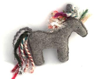 Crazy Mane Gray Unicorn - Recycled Wool Sweater Plush Toy
