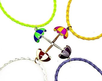 SALE Bracelet or Anklet Adjustable Beach Umbrella Plated Pendant Friendship Braided Faux Leather Epoxy Color Charm