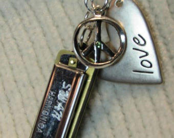 Peace, Love, and Music Harmonica Necklace