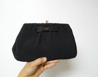 Harry Levine . 50s 60s black clutch . party bag