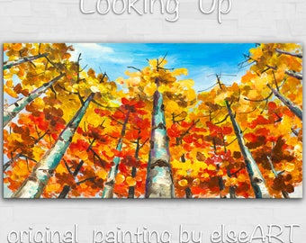 Sale Original Landscape Painting fine art Looking Up Forest Original huge modern acrylic on canvas by Tim Lam 48x24x1.3