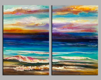 Original abstract painting oil painting Sea art Beach Wave with fiery sky on gallery wrap canvas  48x36