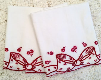 Red Bow Pillowcases - White Tube Cases - Embroidery Bows - All Cotton Bedding - Vintage Pillowcases