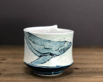 Watercolor whale bowl, ocean minded art, serving bowl, beach decor