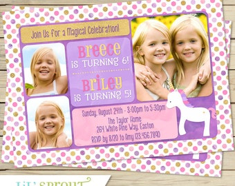 Unicorn Double Birthday Invitation - Pink Purple Gold Joint Birthday Invitation - Two Girls or Sisters - Printable Invitation - DIY