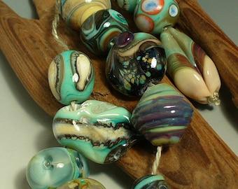 Lampwork beads/SRA lampwork/beads/designer set/copper green/organic/silvered ivory/