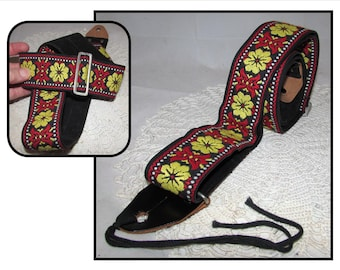 Vintage Black Leather & Red and Yellow Woven Jacquard Guitar Strap, Made in Japan, flowers, music, accessory