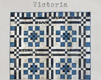 Victoria - Quilt Pattern - An entrancing quilt design using three tones of patterned fabrics and traditional patchwork techniques