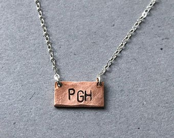 PGH Hand-stamped Copper Necklace