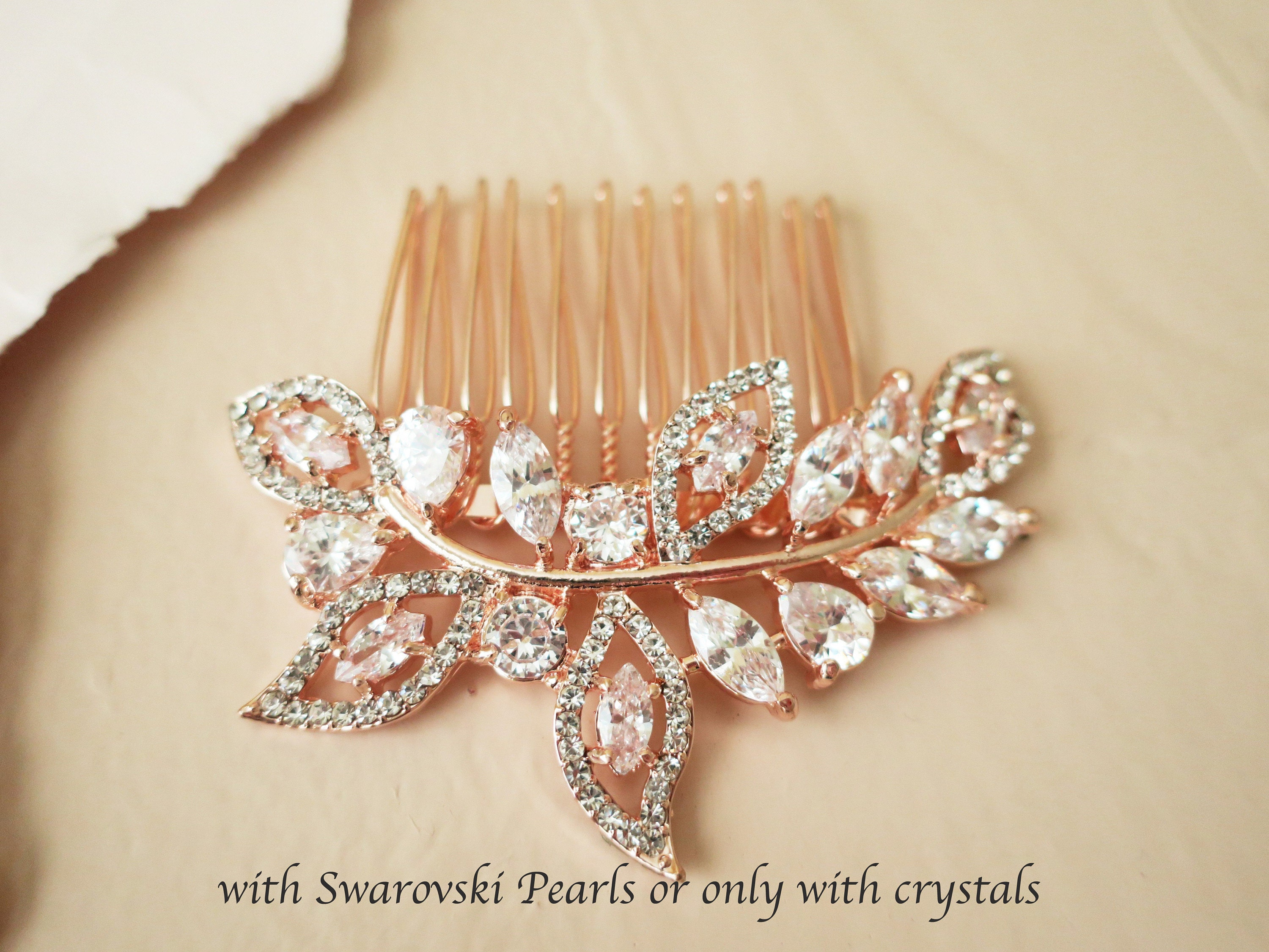 Rose gold marquise hair comb, bridal zircon headpiece