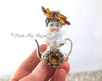 Amber Tiny Teapot Art Doll  Original Art Doll Assemblage Miniature Teapot Mixed Media Doll Sculpture Lorelie Kay Original