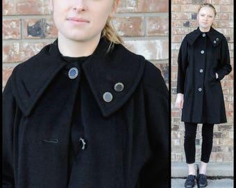 1960s Coat, Small, Black Mod Coat, Long Black Coat, Black Winter Coat, Black Wool Coat, Hipster Coat, Big Collar Coat, Mid Length Coat