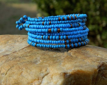 Denim Blue Czech Boho Bead Bangle