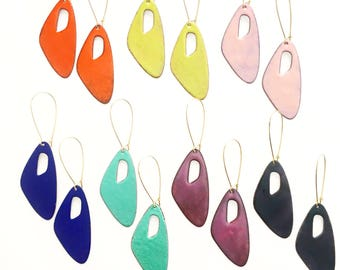 Abstract Enamel Earrings- choose your color!