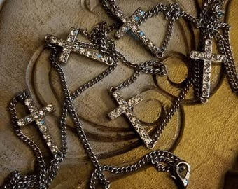 30% OFF Vintage Rhinestone Cross Charms Necklace 43 inch Silvertone