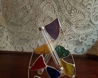 30% OFF Vintage Stained Glass Suncatcher Bud Vase, Plant Root Starter, Glass Tubes