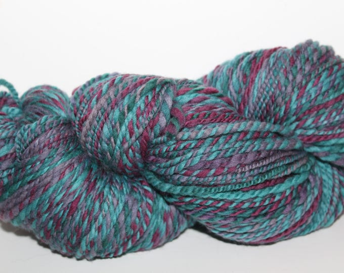 Handspun Merino Wool Yarn.  2ply Worsted Weight. Kettle Dyed. Super Fine Merino. 4oz 250yards