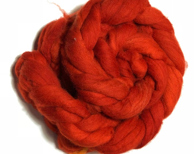 Kettle Dyed Cheviot Wool top. Roving.  Spin. Felt. Soft and easy to work with. Burnt Orange. 4oz braid.
