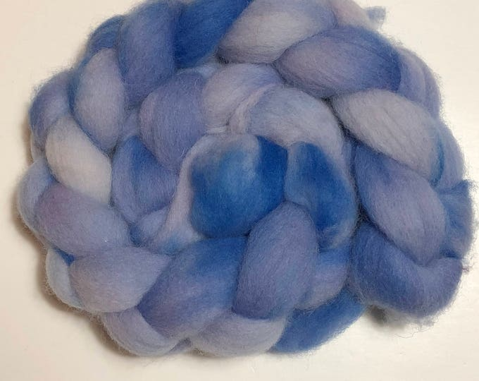 Hand dyed Cheviot wool top. Soft and easy to work with. Practically spins itself and great for felting. 4oz. braid. Storm Cloud
