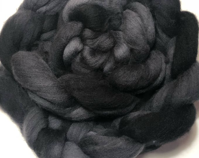 Kettle Dyed Cheviot Wool top. Roving.  Spin. Felt. Soft and easy to work with. Twilight Black. 1lb. Braid