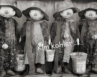 Instant Download Standing Snow Girl & Man Doll Pattern PDF E Patterns Primitive Farmhouse Fabric Sewing Kim Kohler Veenas Mercantile