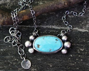 Blue bird mine American turquoise sterling silver necklace