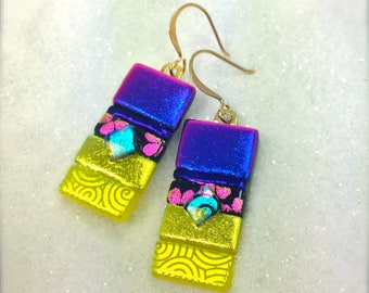 Fused glass art, Dichroic glass,rainbow colored earrings, handmade earrings, dichroic glass earrings, fused glass art, Hana Sakura Designs,