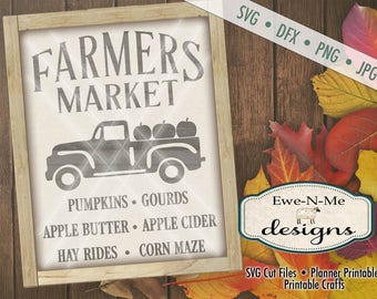 Farmers Market SVG - pumpkin svg - farmhouse svg - old truck with pumpkins svg - fresh produce svg - Commercial Use  svg, dfx, png, jpg